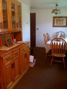 Looking from the sink into the dining area