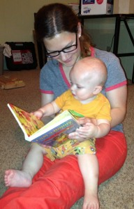 Robyn reading to Oliver